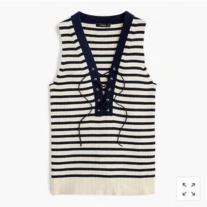 Rubber Lace-up Sweater Tank in Stripe